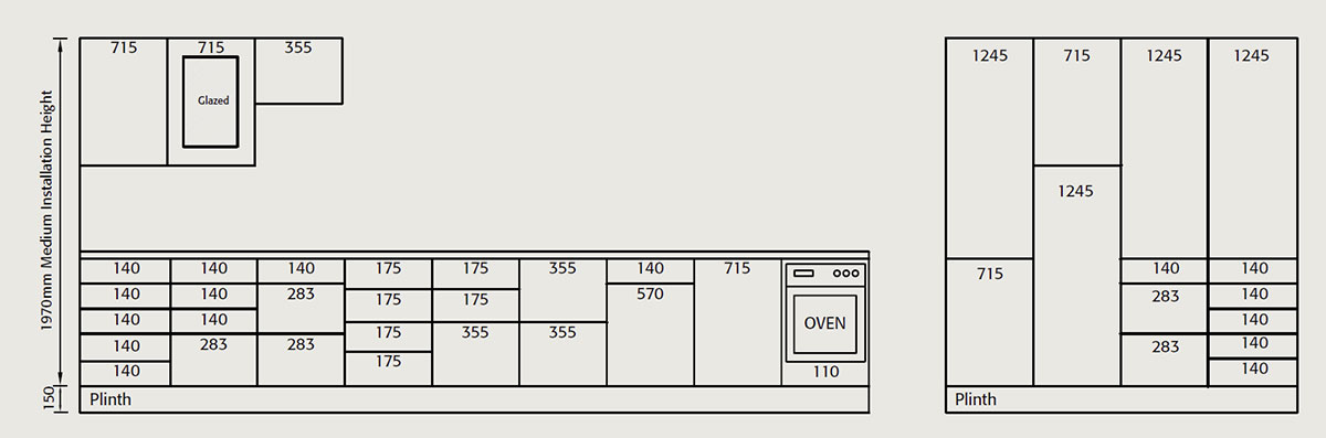 Door and drawer combinations